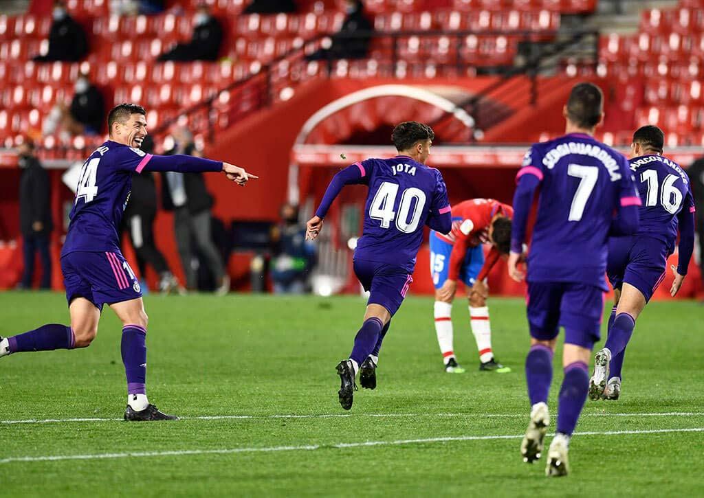 Jugadores celebrando un gol (Real Valladolid)